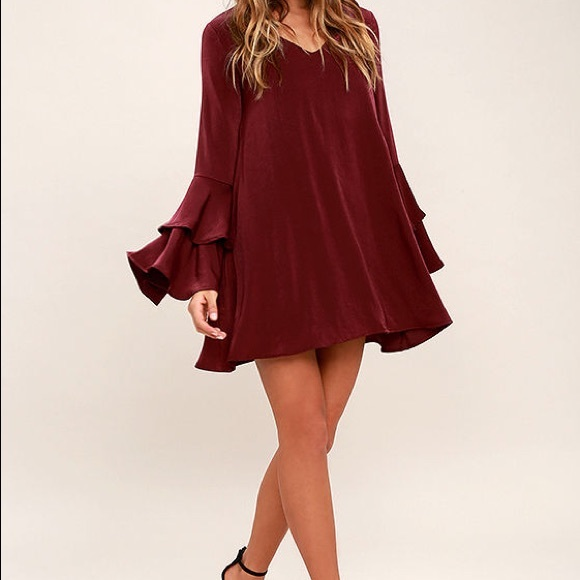 29d8c136138e GET A GLIMPSE BURGUNDY LONG SLEEVE SHIFT DRESS